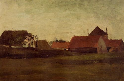 Farmhouses in Loosduinen near the Hague at Twilight by Vincent van Gogh