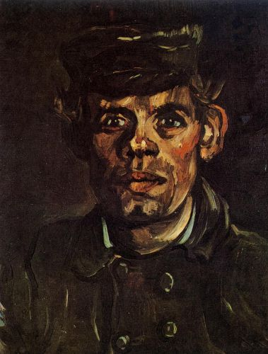 Head of a Young Peasant in a Peaked Cap by Vincent van Gogh