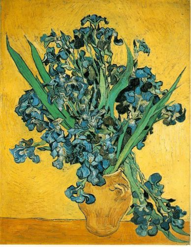 Still Life: Vase with Irises Against a Yellow Background by Vincent van Gogh