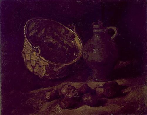 Still Life with Copper Kettle, Jar and Potatoes by Vincent van Gogh