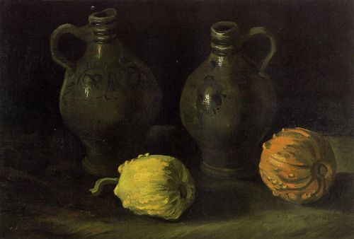 Still Life with Two Jars and Two Pumpkins by Vincent van Gogh