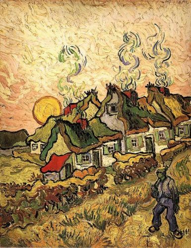 Thatched Cottages in the Sunshine - Reminiscence of the Nort by Vincent van Gogh