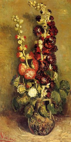 Vase with Hollyhocks by Vincent van Gogh