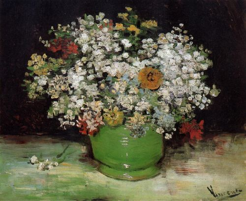 Vase with Zinnias and Other Flowers by Vincent van Gogh