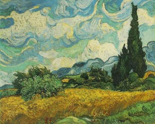 Wheat Field with Cypresses at the Haute Gallinle Near Eygali by Vincent van Gogh