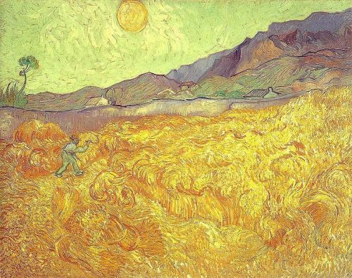 Wheat Fields with Reaper at Sunrise by Vincent van Gogh