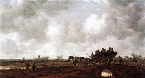 Horse Cart on a Bridge by Jan van Goyen