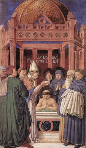 St Augustine Cycle: Baptism by Benozzo Gozzoli