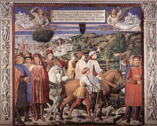 St Augustine Cycle: Departing for Milan by Benozzo Gozzoli