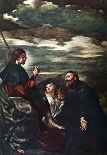 St Augustine Washing the Feet of the Redeemer by Giovanni Francesco Barbieri Guercino