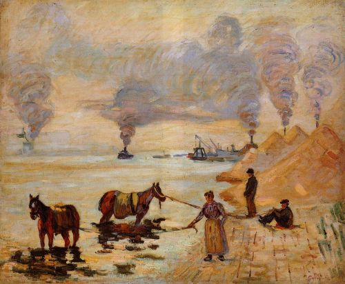Horses in the Sand at Ivry by Armand Guillaumin