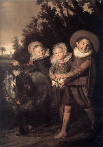 Three Children with a Goat Cart by Frans Hals