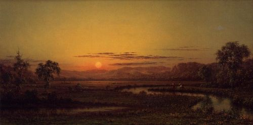 Two Fishermen in the Marsh, at Sunset by Martin Johnson Heade