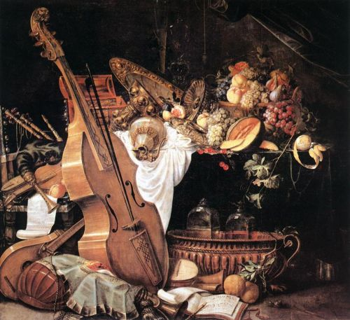 Vanitas Still-Life with Musical Instruments by Cornelis de Heem