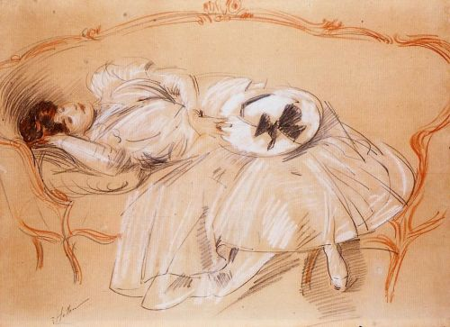 Young Woman on a Divan by Paul Helleu