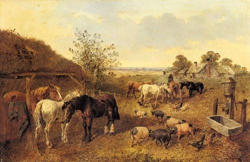 A Farmstead by John Frederick Jr Herring