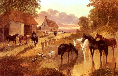 The Evening Hour - Horses And Cattle By A Stream At Sunset by John Frederick Sr Herring