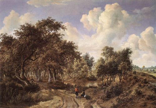 A Wooded Landscape by Meyndert Hobbema