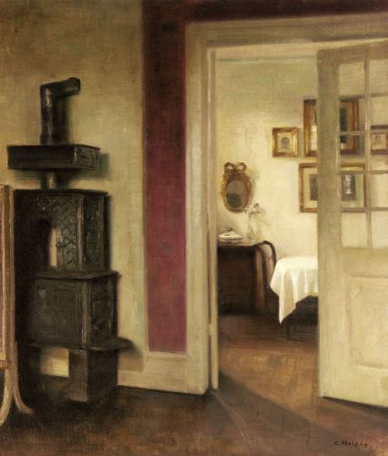 An Interior with a Stove and a View into a Dining Room by Carl Holsoe