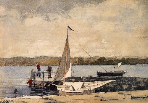 A Sloop at a Wharf, Gloucester by Winslow Homer