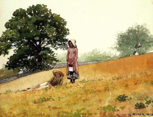 Boy and Girl on a Hillside by Winslow Homer