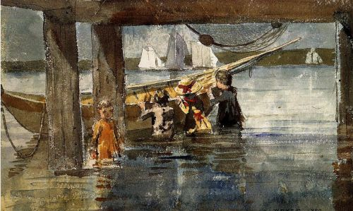 Childred Playing under a Gloucester Wharf by Winslow Homer