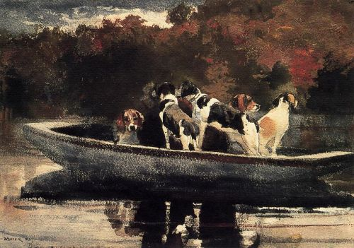 Dogs in a Boat by Winslow Homer