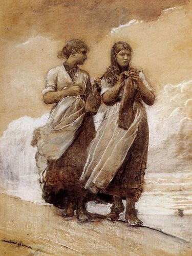 Fishergirls on Shore, Tynemouth by Winslow Homer