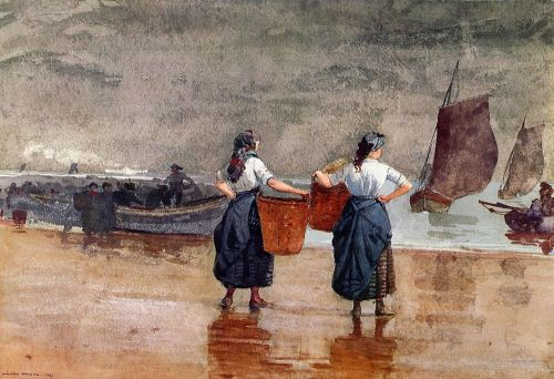 Fishergirls on the Beach, Tynemouth by Winslow Homer