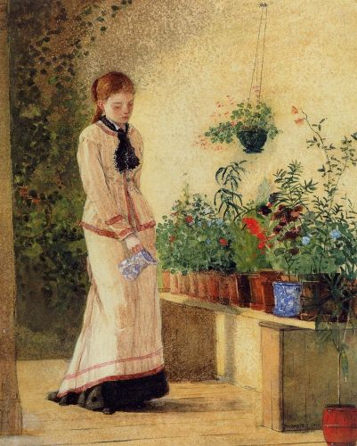 Girl Watering Plants by Winslow Homer