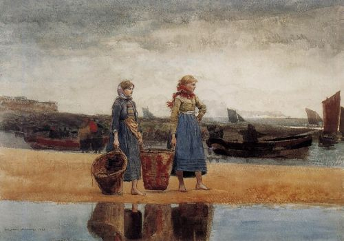 Two Girls at the Beach, Tynemouth by Winslow Homer