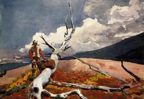 Woodsman and Fallen Tree by Winslow Homer