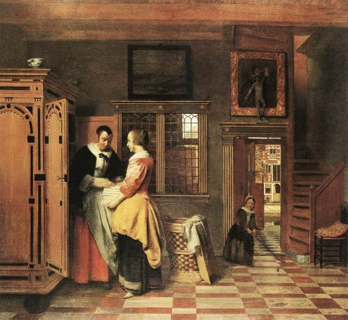 At the Linen Closet by Pieter de Hooch