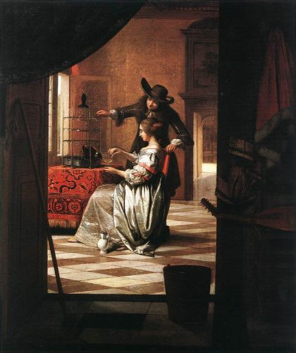 Couple with Parrot by Pieter de Hooch