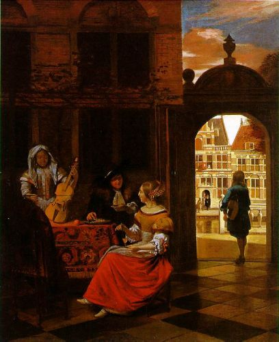 Musical Party in a Courtyard by Pieter de Hooch