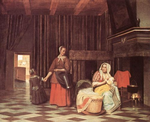 Suckling Mother and Maid by Pieter de Hooch