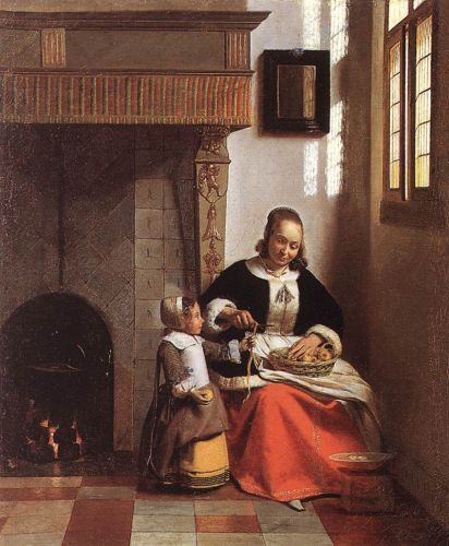 Woman Peeling Apples by Pieter de Hooch