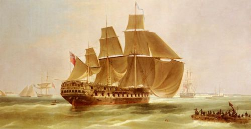 An East Indiaman Entering Madras Harbour, India by William John Huggins
