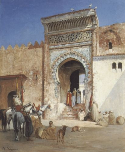 Arabs Outside the Mosque by Victor Huguet