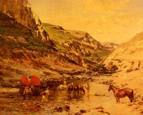 Arabs Resting in a Gorge by Victor Huguet