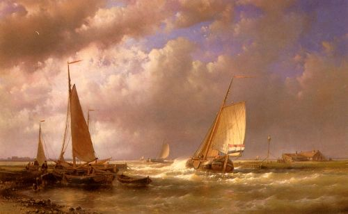 Dutch Barges At The Mouth Of An Estuary by Abraham Hulk