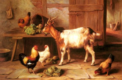 Goat and chickens feeding in a cottage interior by Edgar Hunt