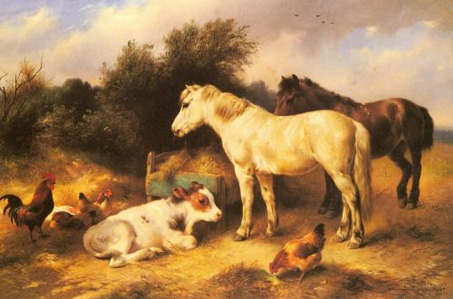 Ponies, A Calf and Poultry In a Farmyard by Walter Hunt