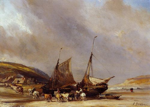 Riders on the Beach with Ship by Eugene Isabey