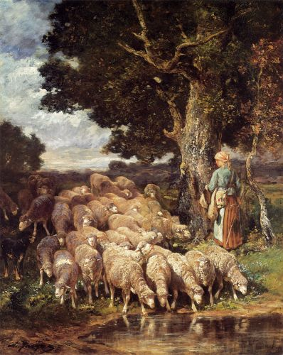 A Shepherdess with her Flock near a Stream by Charles Émile Jacque