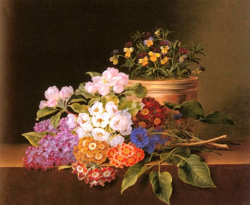 Apple Blossoms, Lilac, Violas, Cornflowers and Primroses on by Johan Jensen
