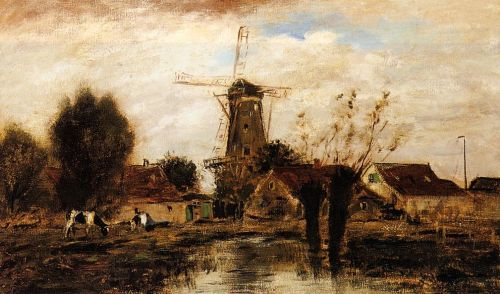 Landscape with Windmill by Johann-Barthold Jongkind