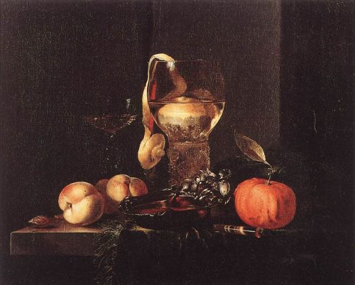 Still-Life with Silver Bowl, Glasses, and Fruit by Willem Kalf