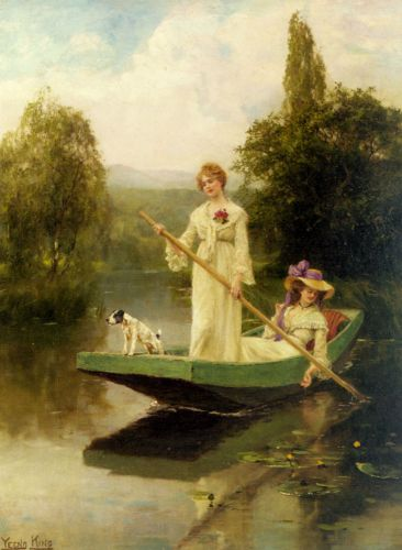 Two Ladies Punting on the River by Yeend King