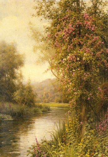 A Flowering Vine along a Winding Stream with a Country Churc by Louis Aston Knight